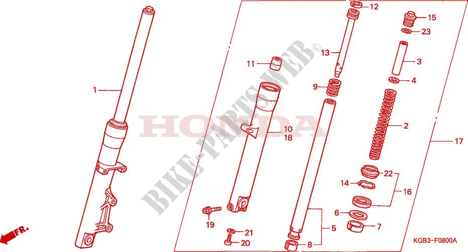 gabel vorne chassis vt125cx 1999 vt 125 moto honda. Black Bedroom Furniture Sets. Home Design Ideas