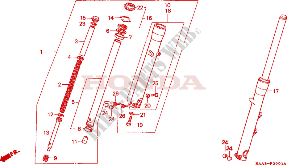 GABEL VORNE VT1100C2 Chassis VT1100C2S 1995 VT 1100 MOTO Honda ...