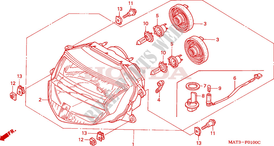 SCHEINWERFER Chassis CBR1100XXV 1997 CBR 1100 MOTO Honda motorrad ...