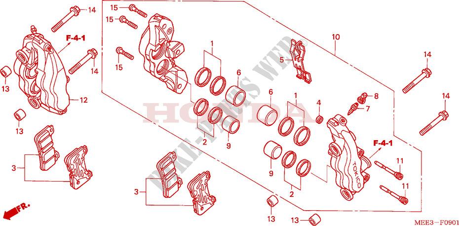 Cyleto Bremsbel/äge vorne /& hinten f/ür Honda CBR600 RR CBR600RR 2007-2015 CBR600 RA RRA 2009-2015 ABS-Modell